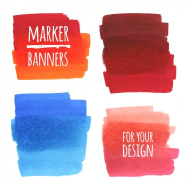 Vector textured design marker banners, lines and stains clip art vector