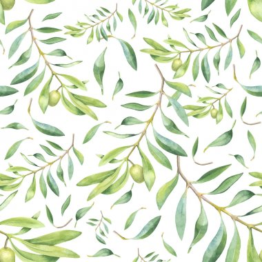 Green watercolor olive branch seamless pattern stock vector