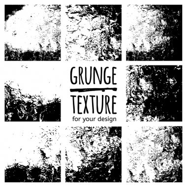 Grunge black textures set on white background for design stock vector