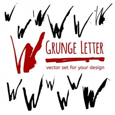 Grunge ink W letters