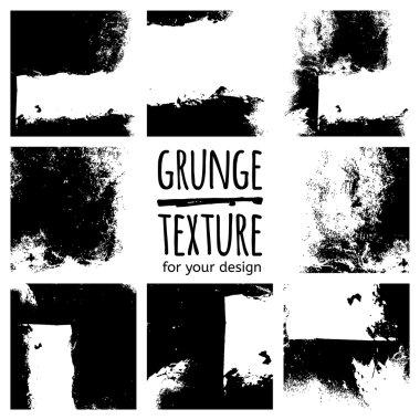 Grunge black textures set