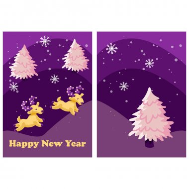 New year deer card on white isolated backdrop. Christmas tree postcard for invitation or gift card, notebook, bath tile, scrapbook. Phone case or cloth print. Flat style stock vector illustration