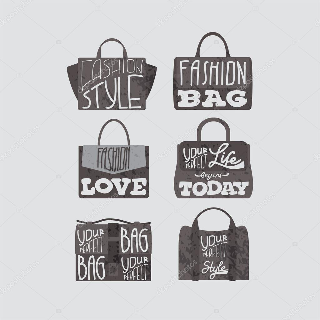 Fashion Bags Set With Fashion Quotes On Them Stock Vector