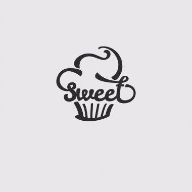 Sweet. Candy Shop Sticker with Cupcake Silhouette.