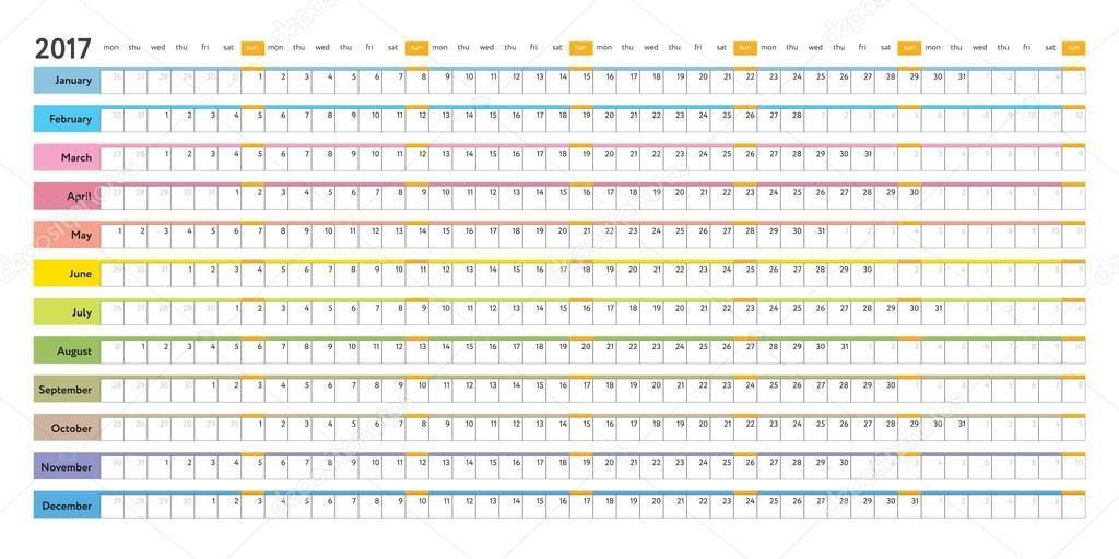 Calendario Lineal.Calendario Editable 2017 Calendario Lineal 2017 Vector