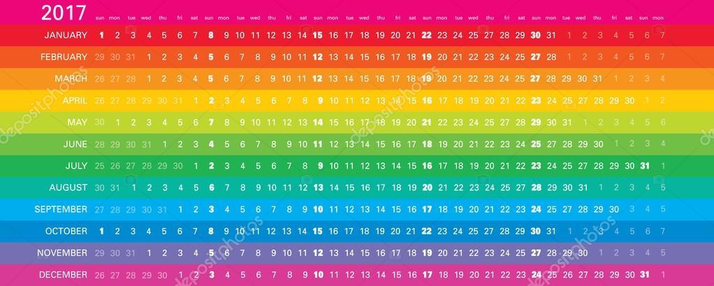 Calendario Lineal.Calendario Lineal 2017 Archivo Imagenes Vectoriales