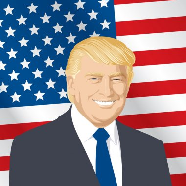 vector illustration of a portrait of Donald J Trump