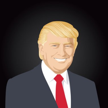 USA - JULY 30: vector illustration of a portrait of Donald J Trump