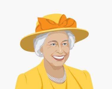 1 November 2016: vector illustration, portrait of Queen of United Kingdom on blue background