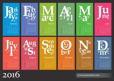 Jazzy calendar 2016 - creative template