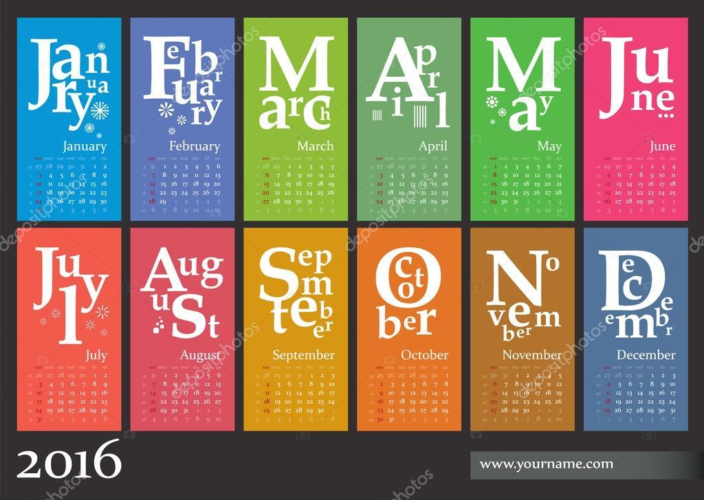 Jazzy Calendar 2016 Creative Template Stock Vector Olania