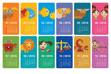 Cute calendar 2016 with funny cartoon horoscopes