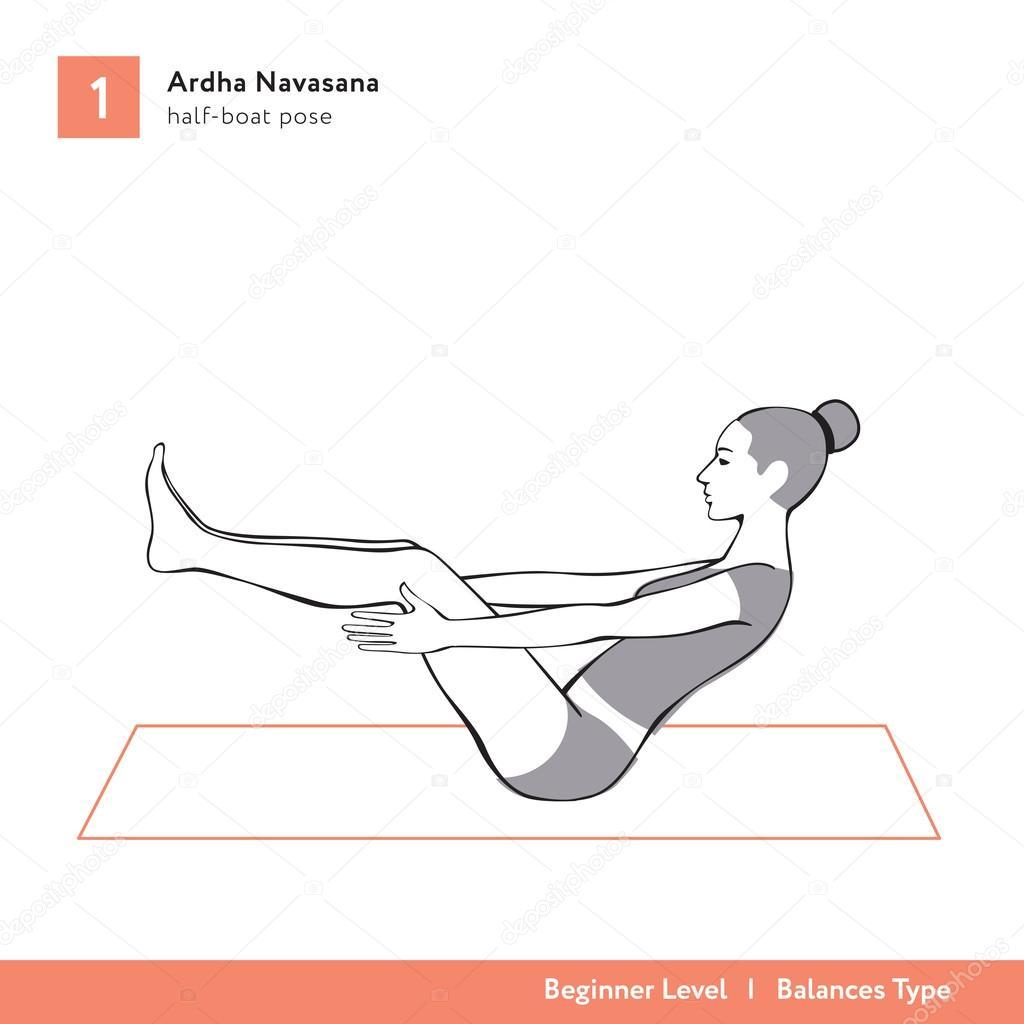 Yoga Asana Ardha Navasana Half Boat Pose