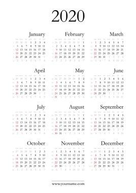 Elegant calendar 2020