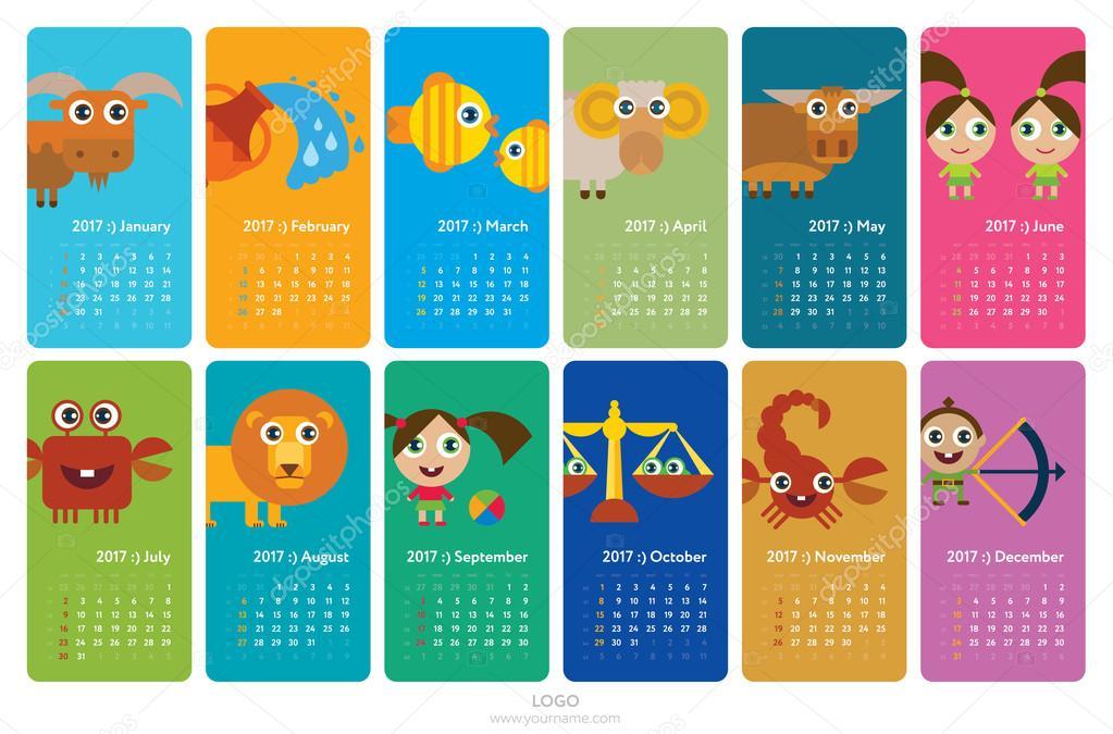 Calendario Segni.Calendario 2017 Con Segni Zodiacali Vettoriali Stock