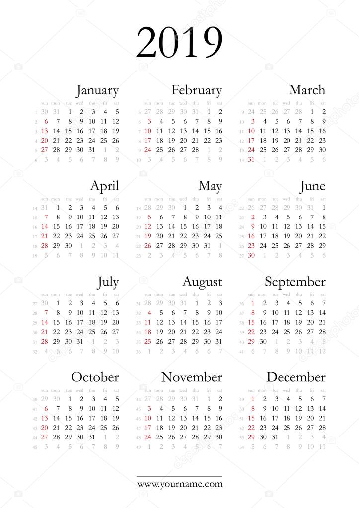 naptár 2019 heti Elegáns naptár 2019 — Stock Vektor © olania #96318772 naptár 2019 heti