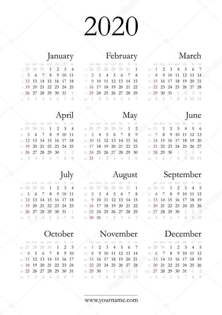 Calendario 2020 Con Numero Settimane.Elegante Calendario 2020 Vettoriali Stock C Olania 96318818