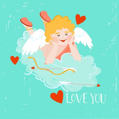 Cute cupid with hearts, bow and arrows flying in the clouds. romantic valentines love card. can be used in card design, postcards, calendars, websites, wallpapers, banners, backgrounds clip art vector