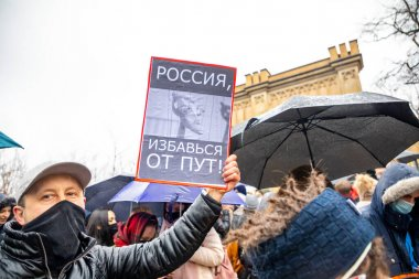 Prague, Czech republic - 23.01.2021: Demonstration rally in support of Novalny after his arrest after returning from Germany to Russia. Meeting with slogans in support of Alexey Navalny in Prague