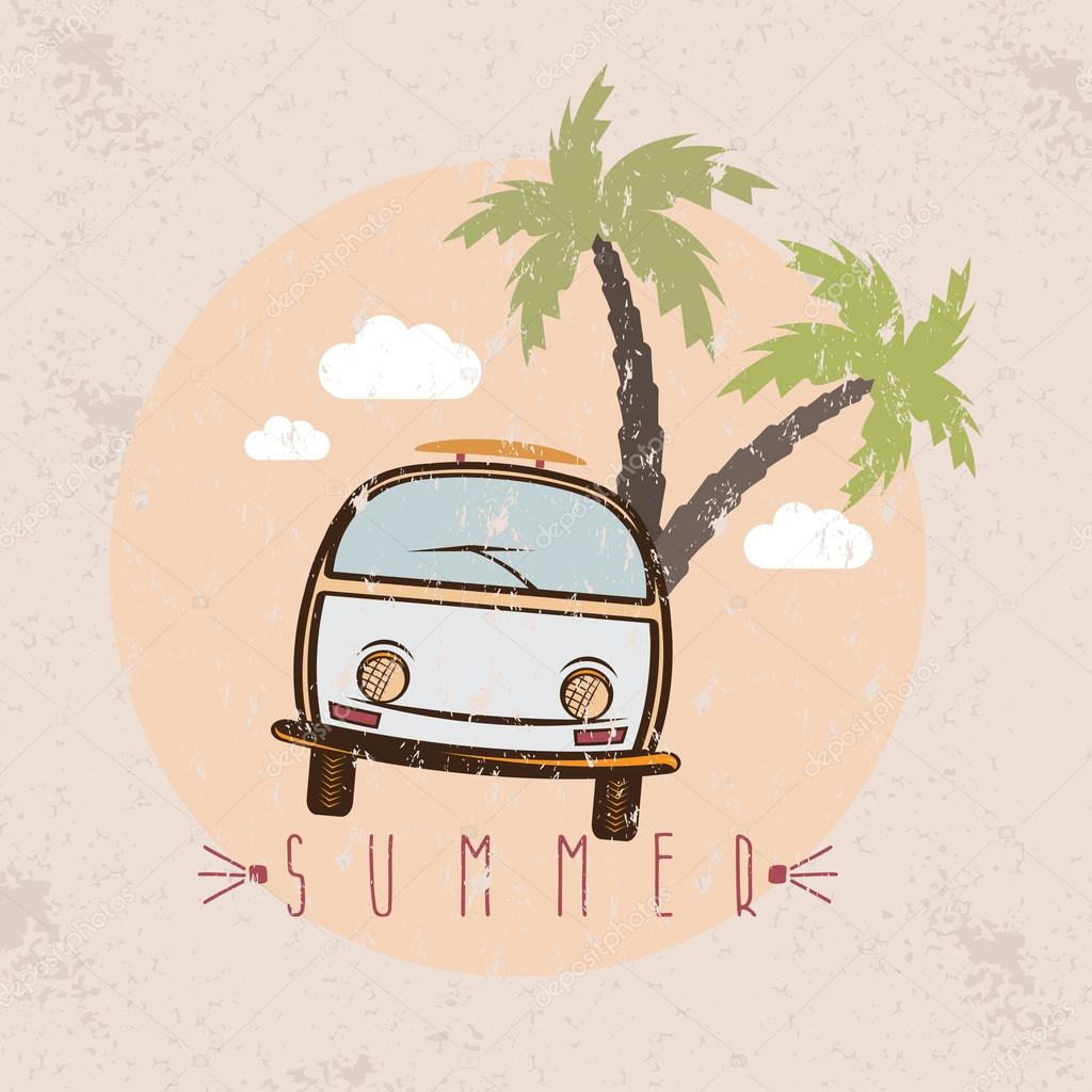 retro bus with surfboard grunge vector design template