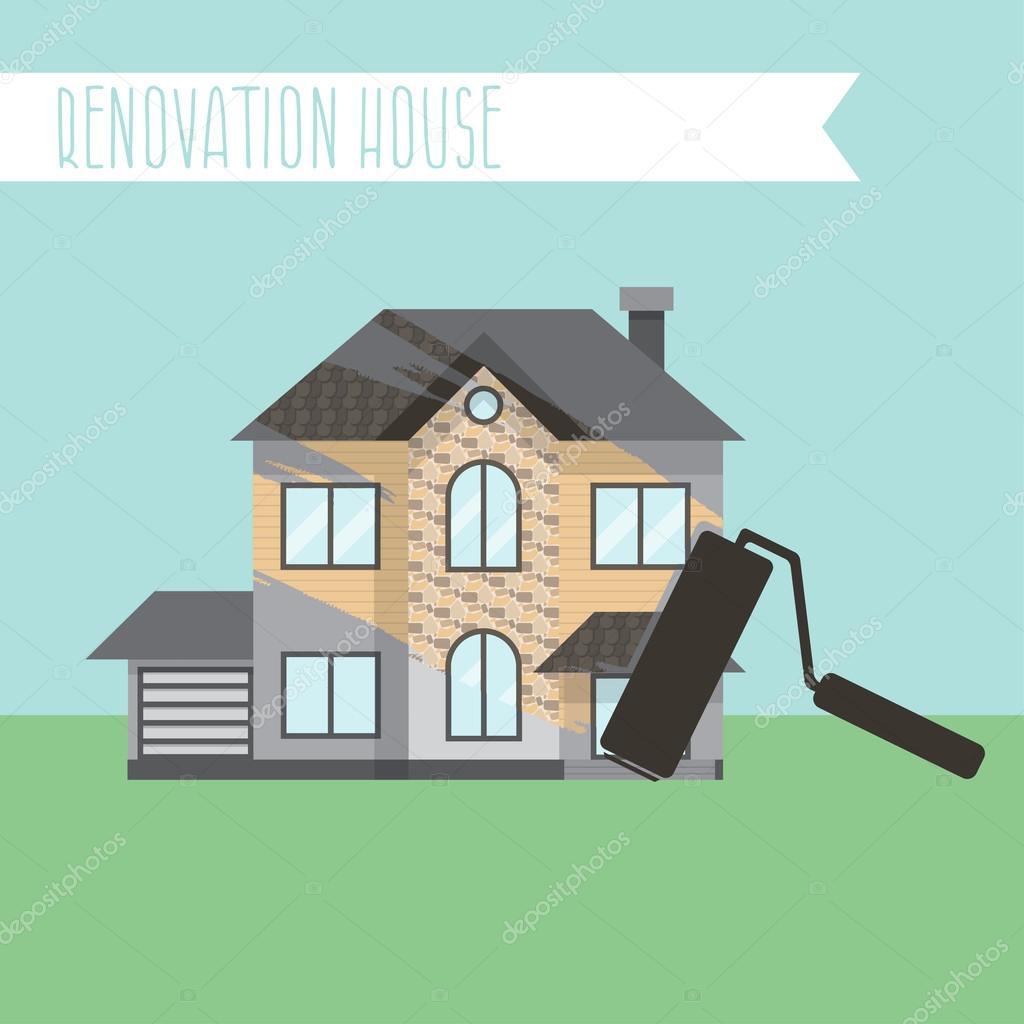Konzept-Renovierung-Illustrationen. Haus Umbau, flache Gestaltung ho ...