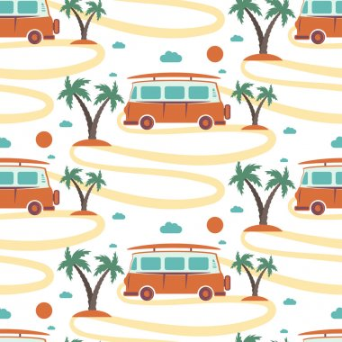 Seamless pattern of retro Bus with surfboard in beach with palms