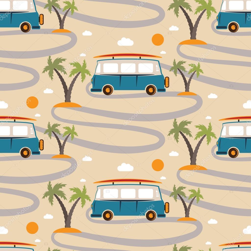 mod le sans couture de bus r tro avec planche de surf la plage avec palmiers image. Black Bedroom Furniture Sets. Home Design Ideas