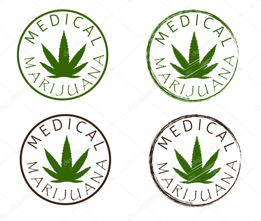 Medical marijuana emblems. Cannabis leaf silhouette.