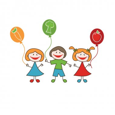 Doodle happy kids with fresh fruits and vegetables clip art vector