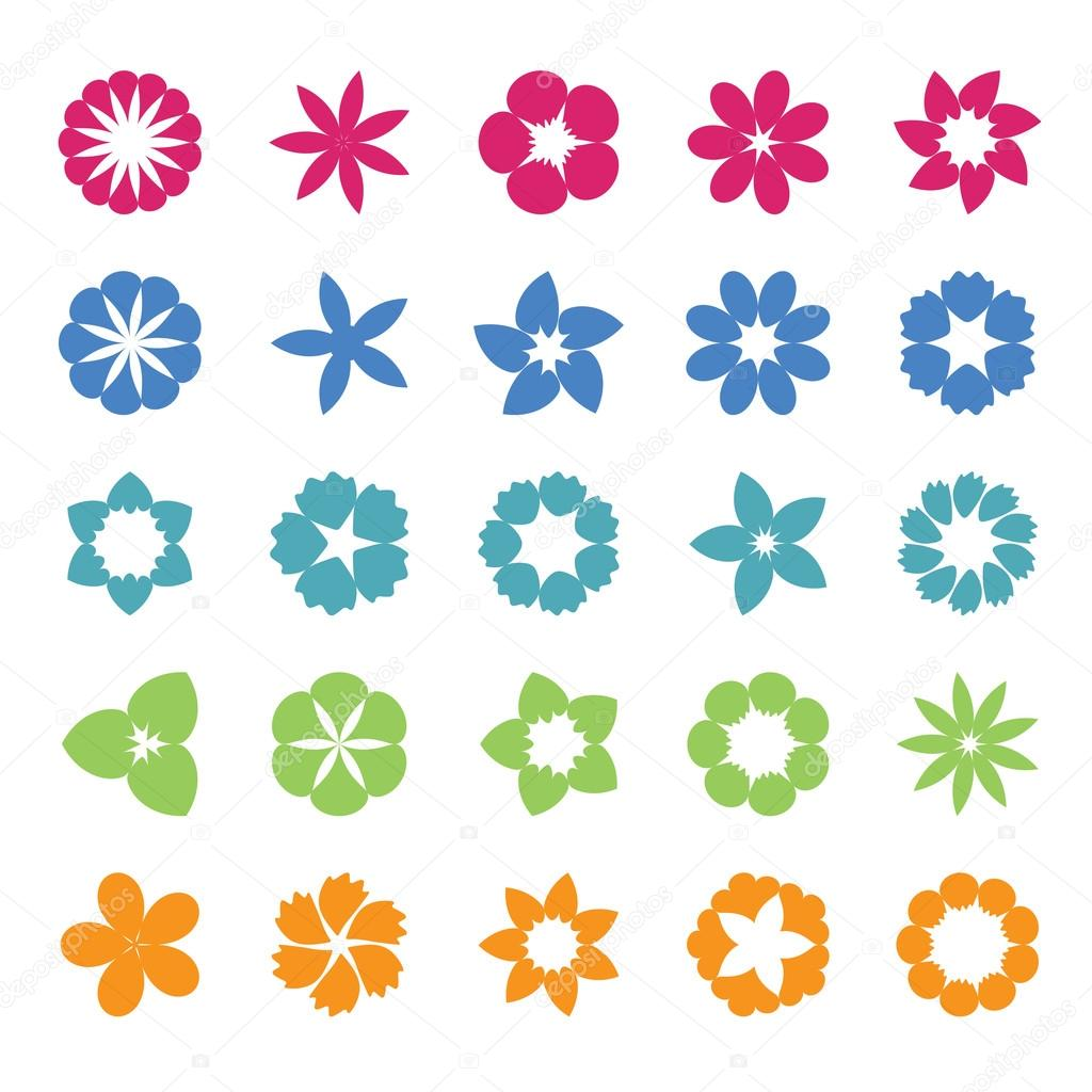 Set of flat icon flower.Vector