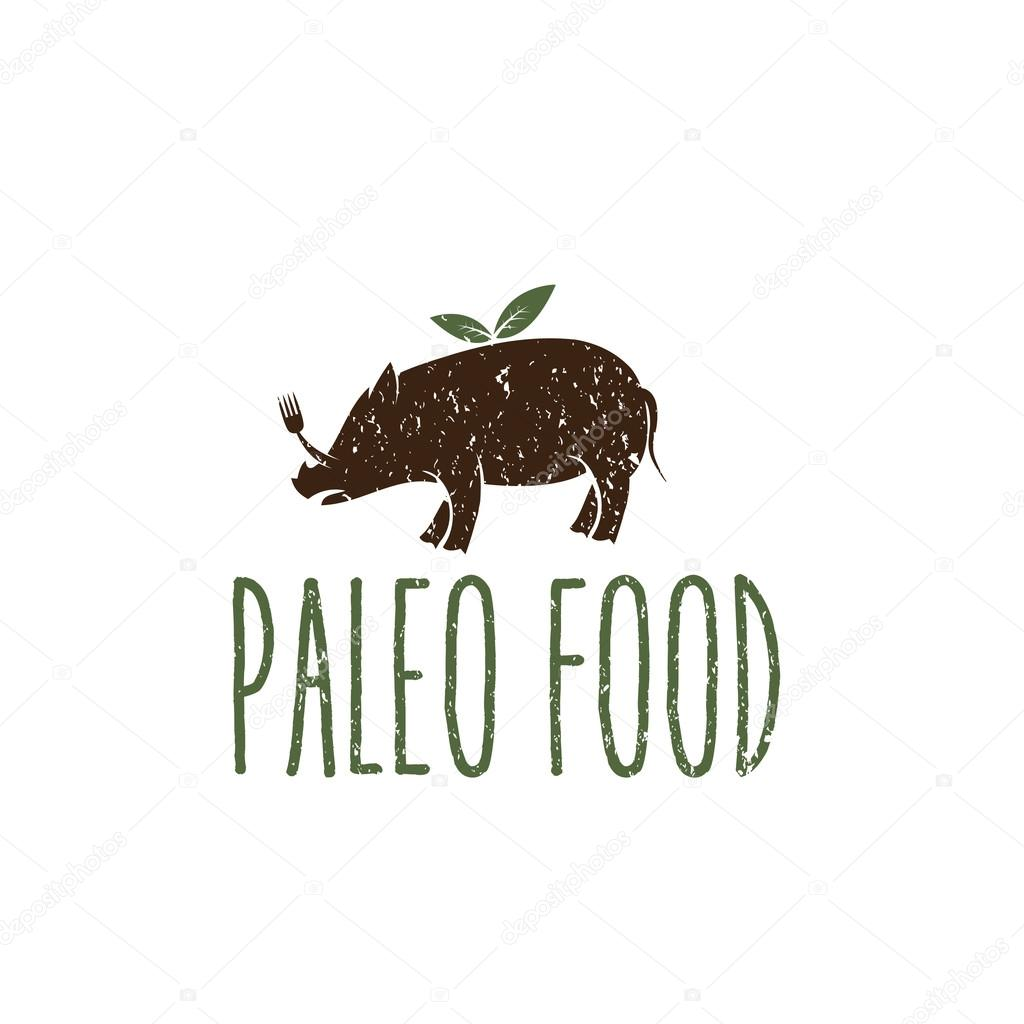 cerdo de alimentos paleo vector plantilla de diseño — Vector de ...