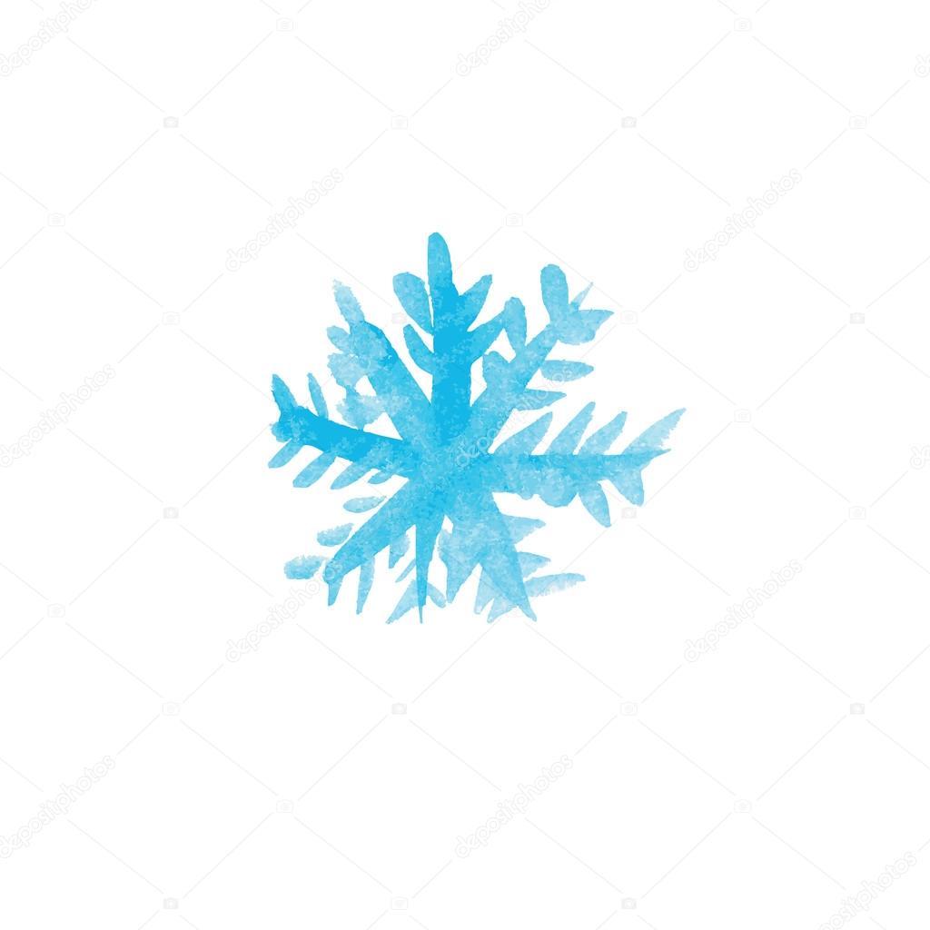 Handwritten watercolor snowflake. Vector