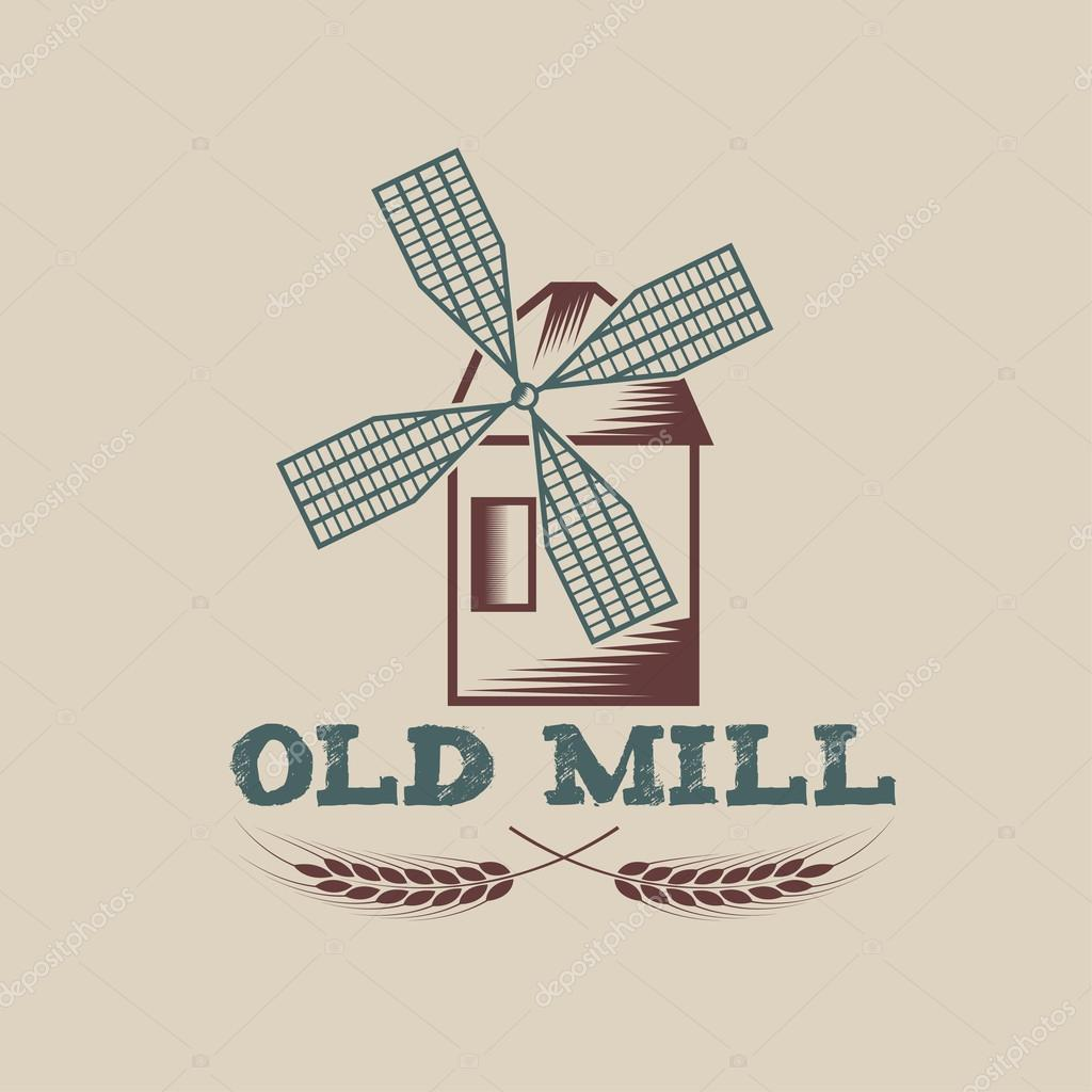 old mill vector design template