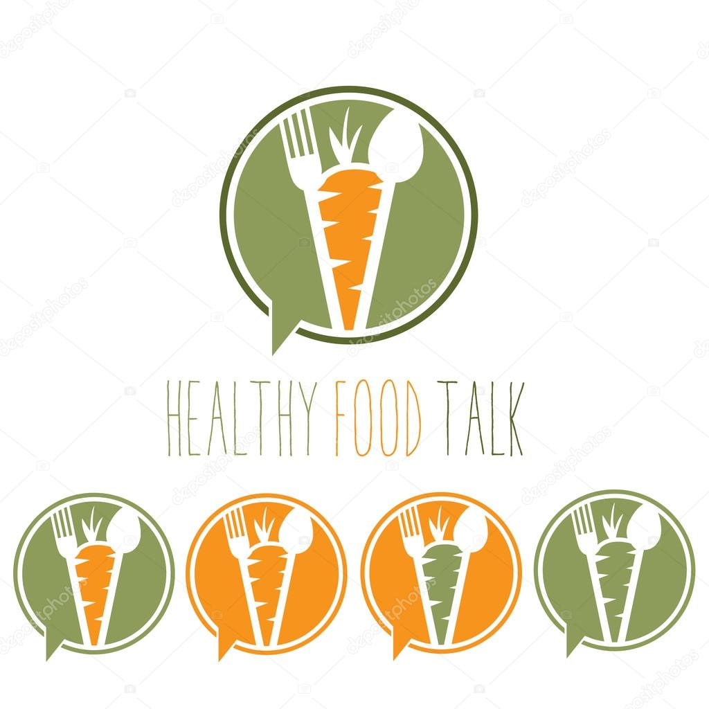 healthy food talk concept with carrot,spoon and fork