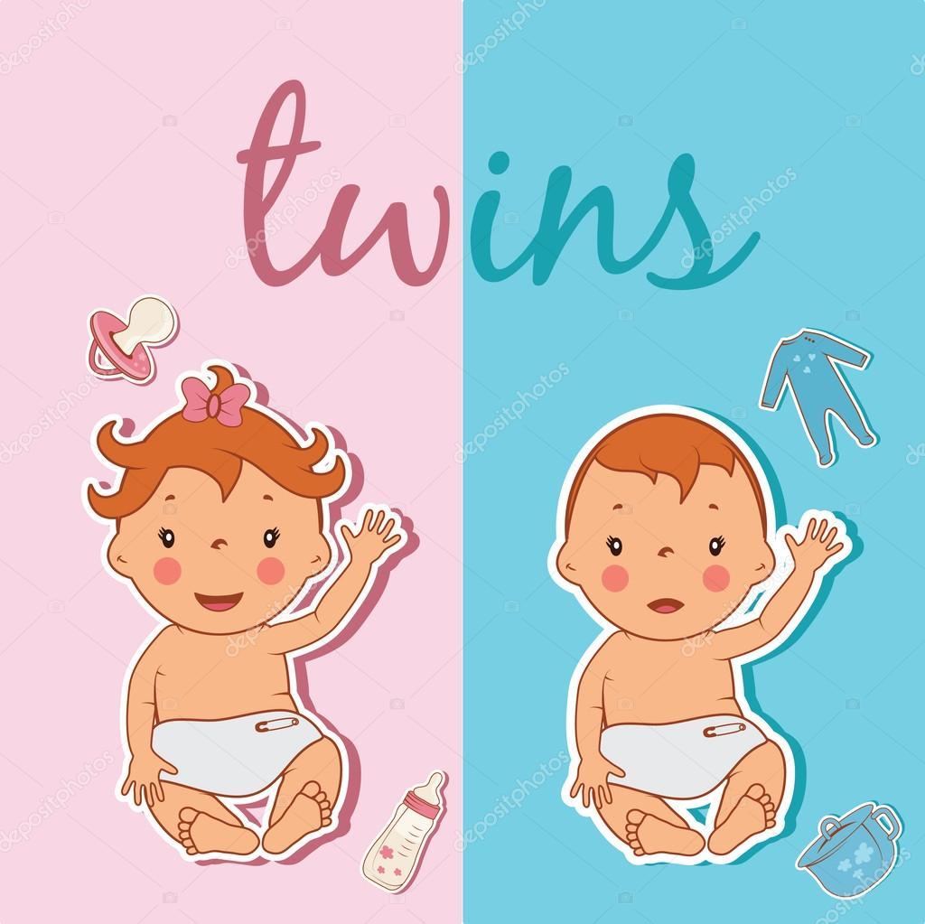 かわいい双子のイラスト。ベクトル — ストックベクター © uvaconcept