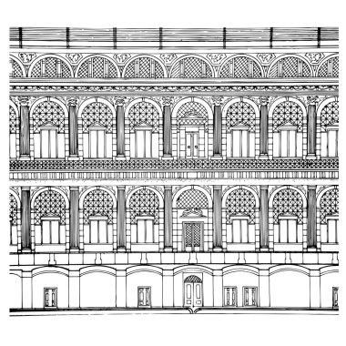 Illustration of hand drawing facade .vector