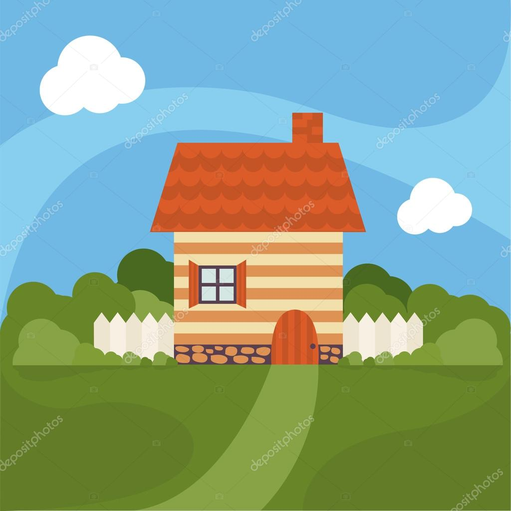 Illustration of cartoon house with garden. Vector