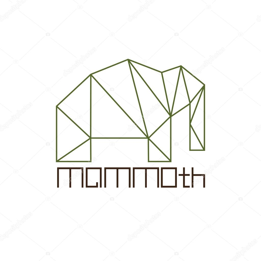 mammoth in polygon line craft style
