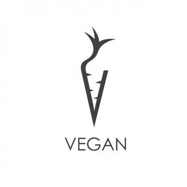vegan monogram in carrot form