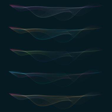 Set of colorful vector smoke waves stock vector