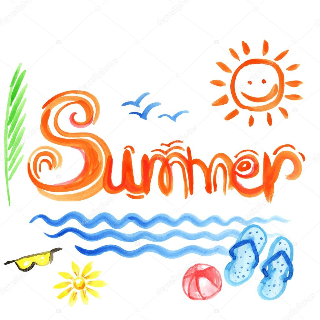 Creative graphic for summer. Watercolor. Vector