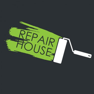 Renovation. Painting roller and the trace of paint. Vector