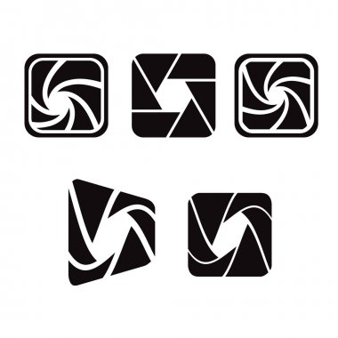 Camera objective shutter icon. Vector