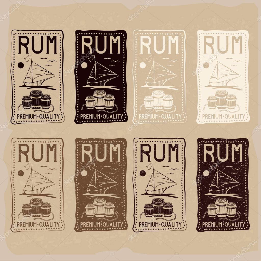 rum vintage labels set