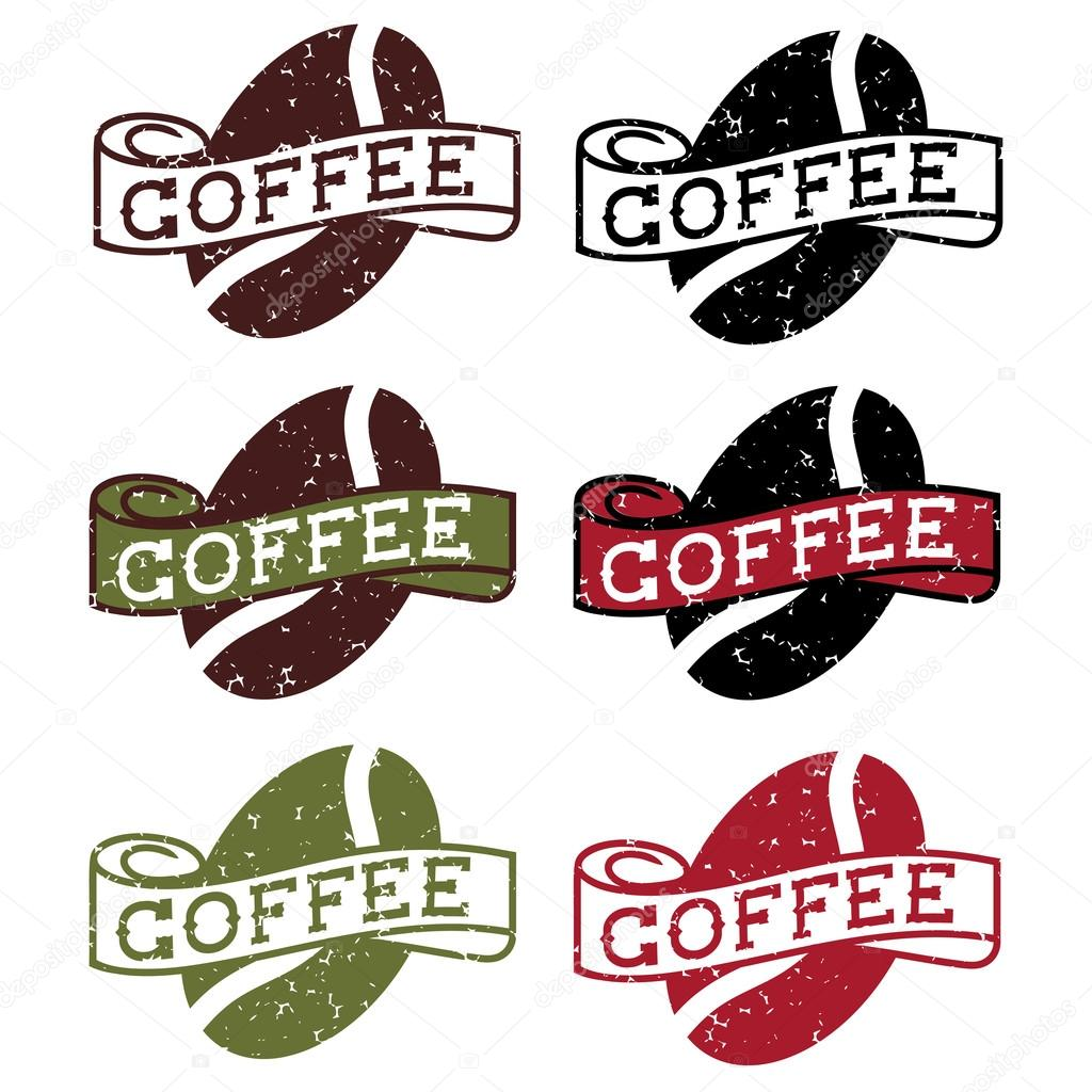 retro grunge labels with coffee bean