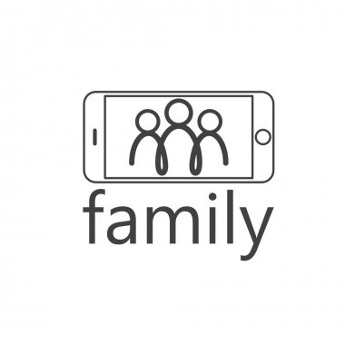 happy family selfie vector design template