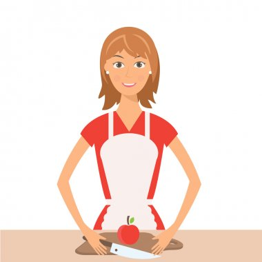 Illustration of pretty woman on kitchen.Vector