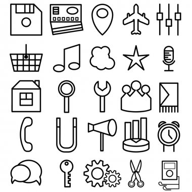 vector set of icons of business and entertainment theme