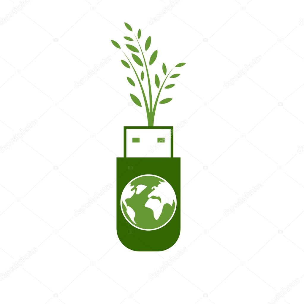Green USB Technology with globe