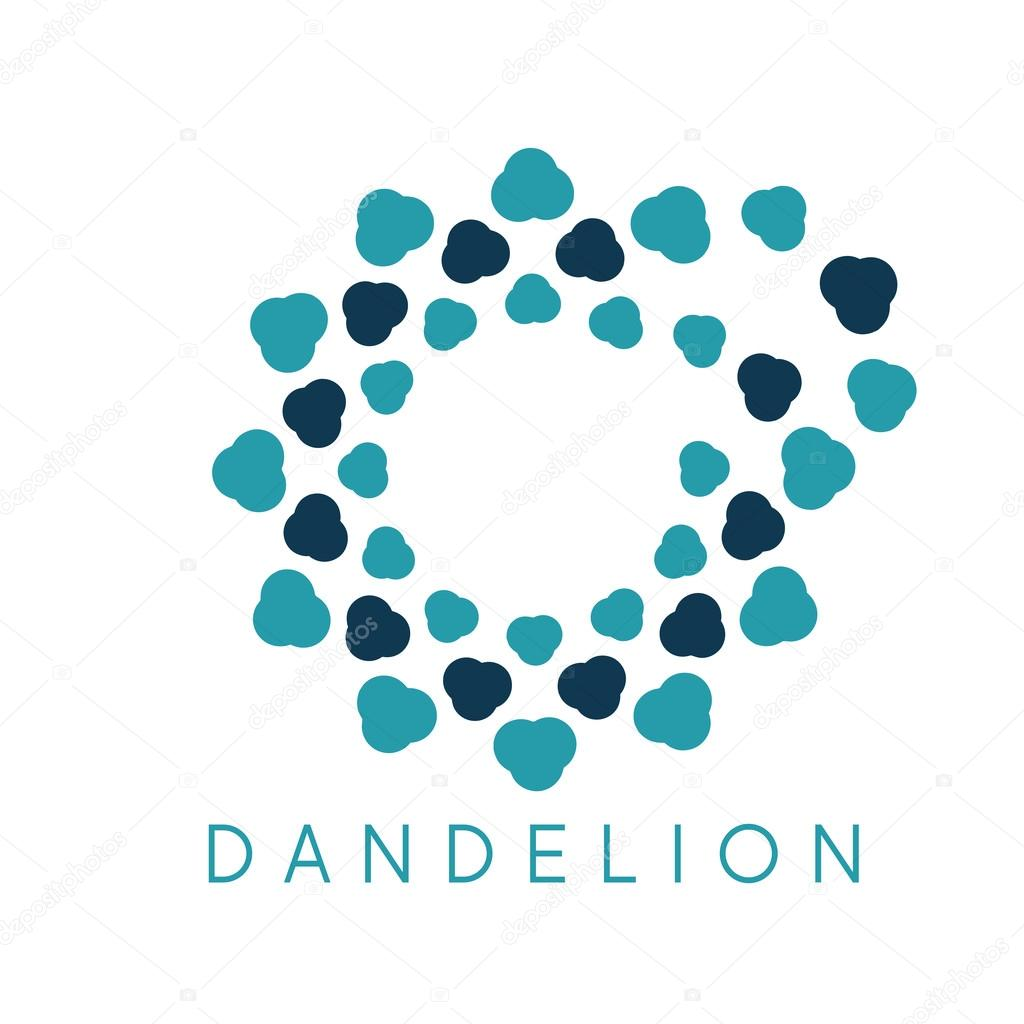 Illustration of concept cloud dandelion. Vector logo